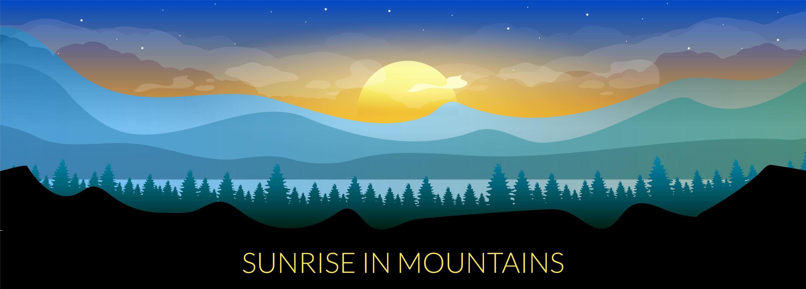 amanecer en las montañas vector