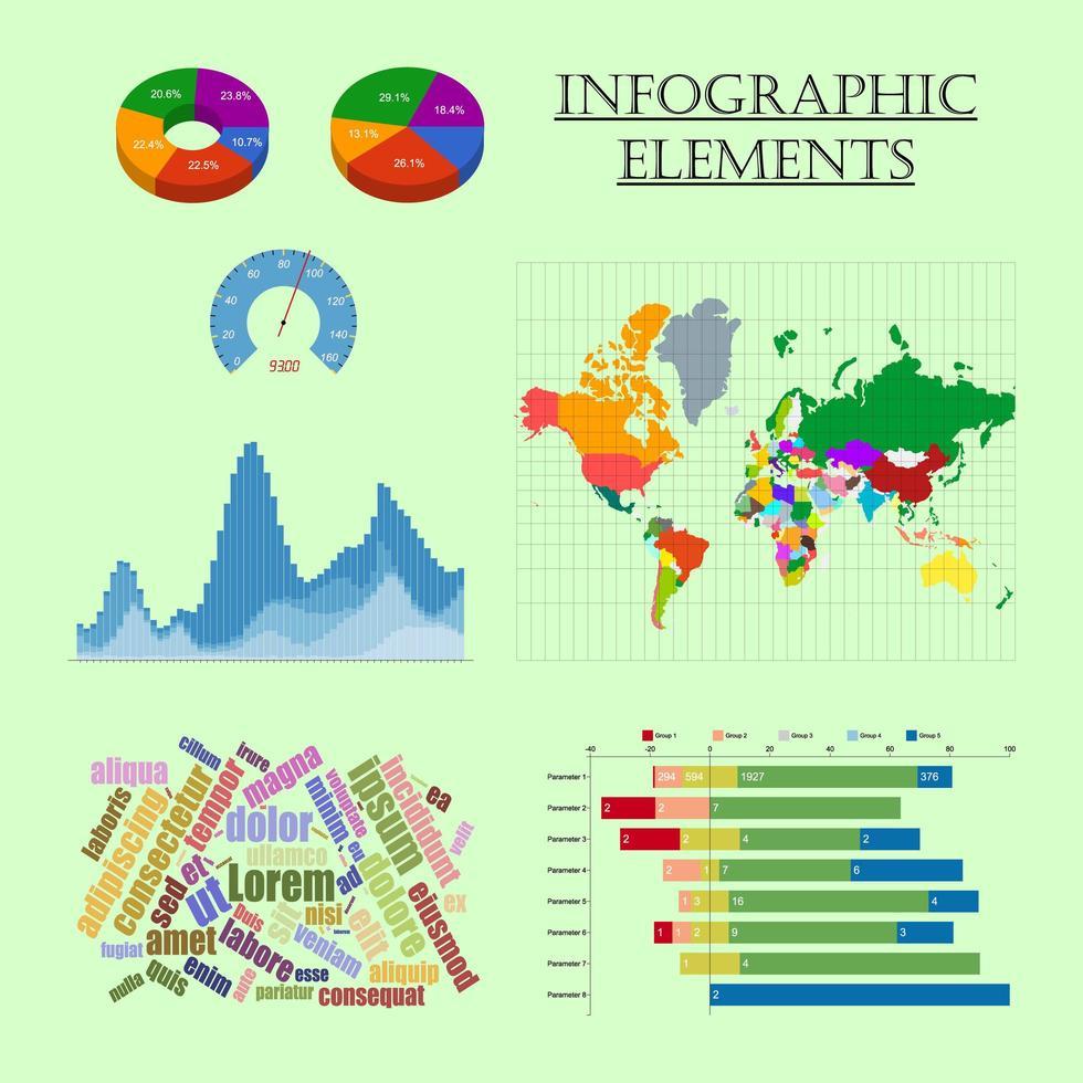 elementos de infografía establecer mapa gráfico gráfico color vector
