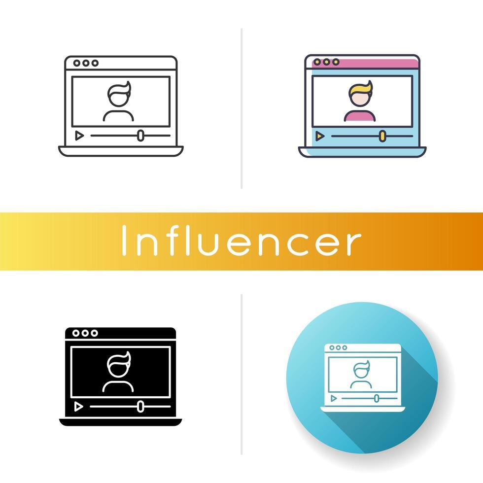Vlogger icon. Influencer on social media platform. vector