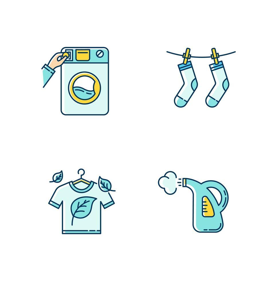 Washing clothes icons set. vector