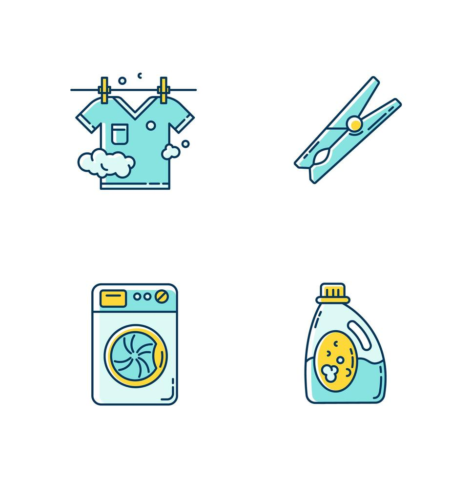 Clothes cleaning items icons set. vector