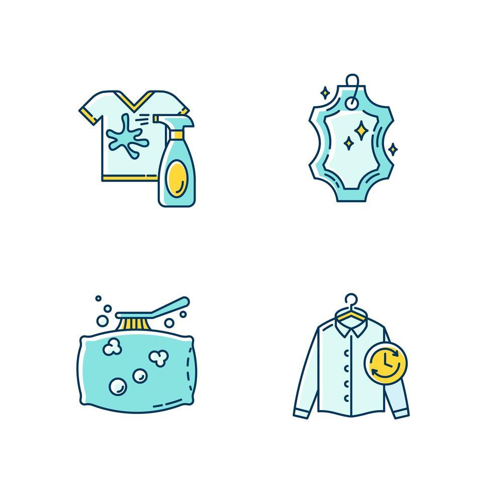 Laundry, washing types icons set. vector