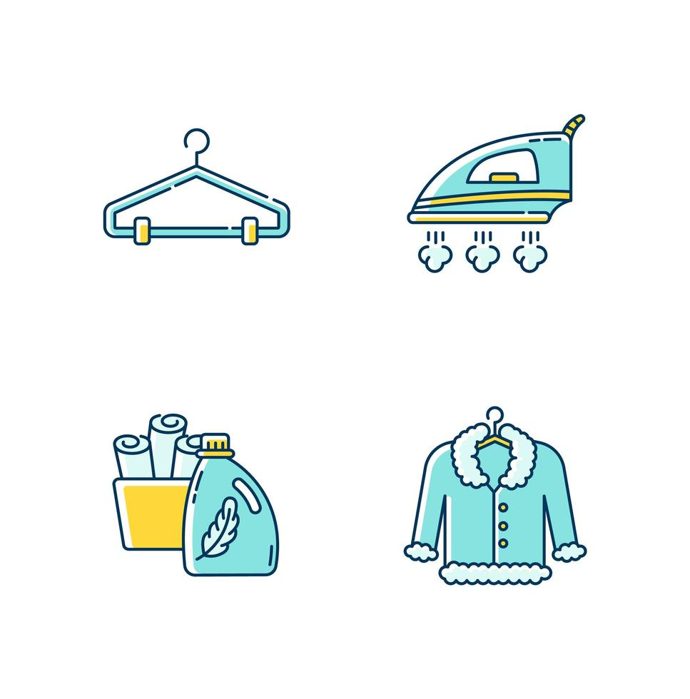 Laundry, clothes care icons set. vector