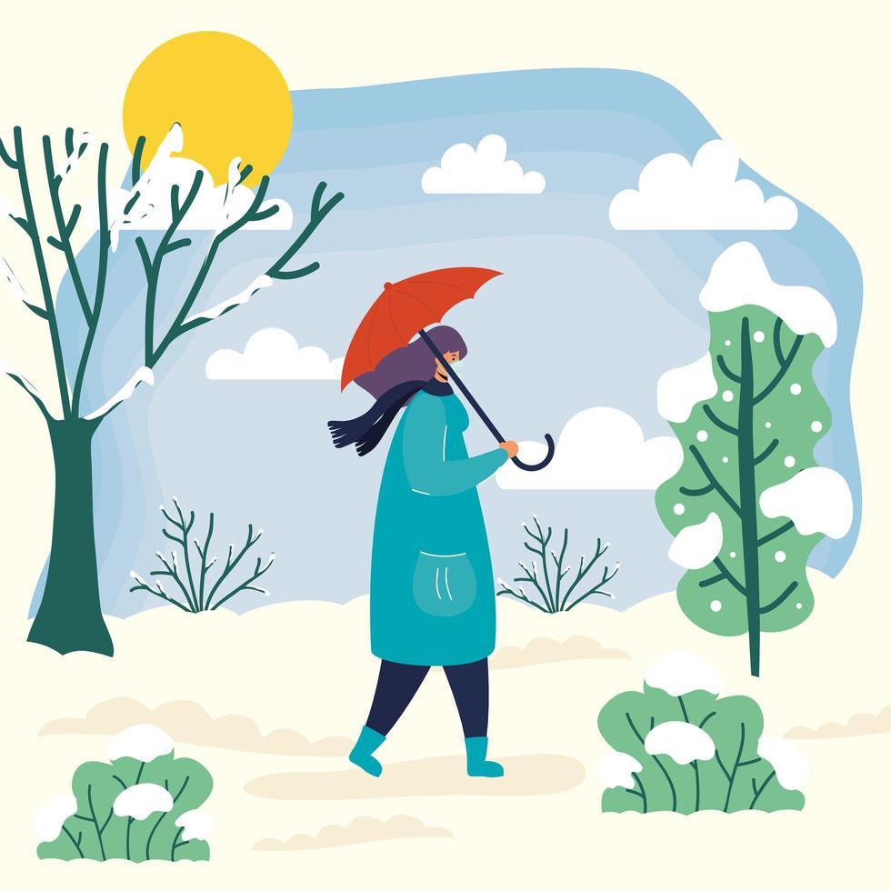 Mujer con mascarilla en una escena de temporada de invierno vector