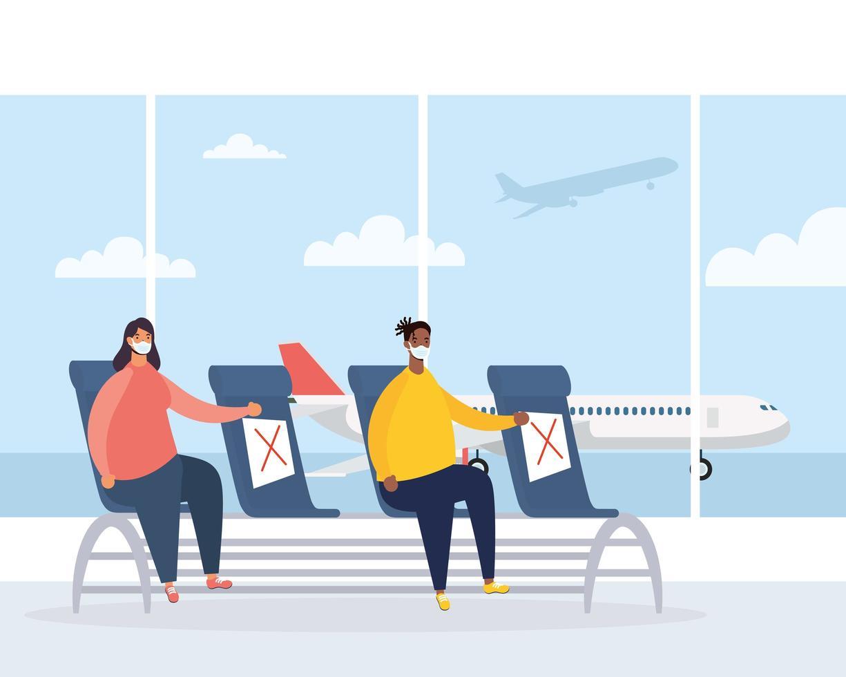 sala de espera del aeropuerto con personas distanciamiento social vector
