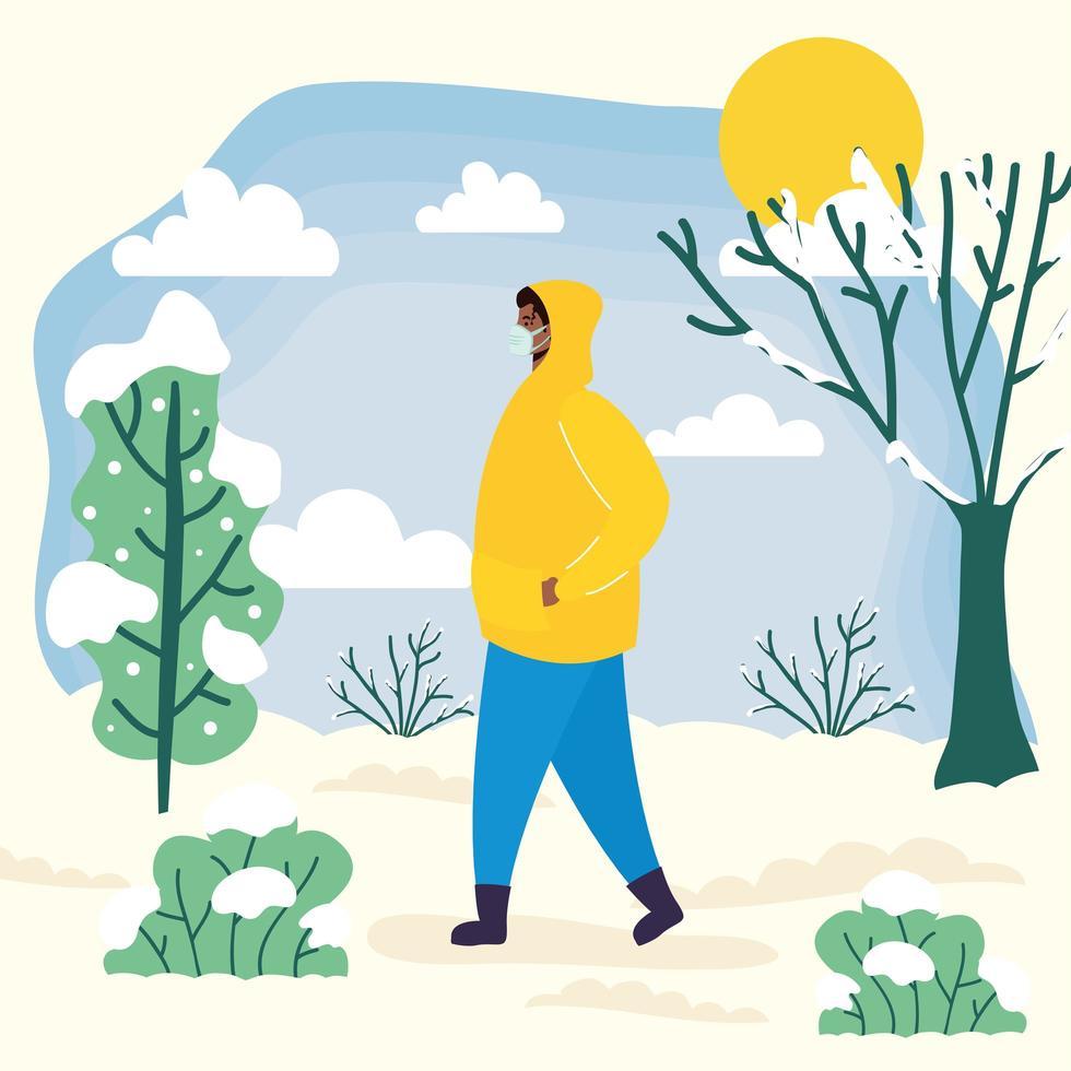 Hombre con mascarilla en un paisaje de clima frío vector
