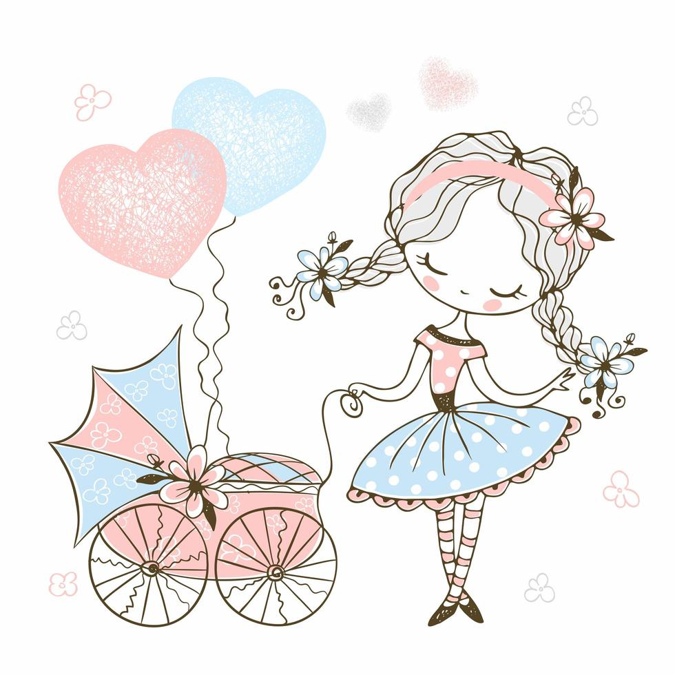 Cute little girl with a toy baby stroller vector
