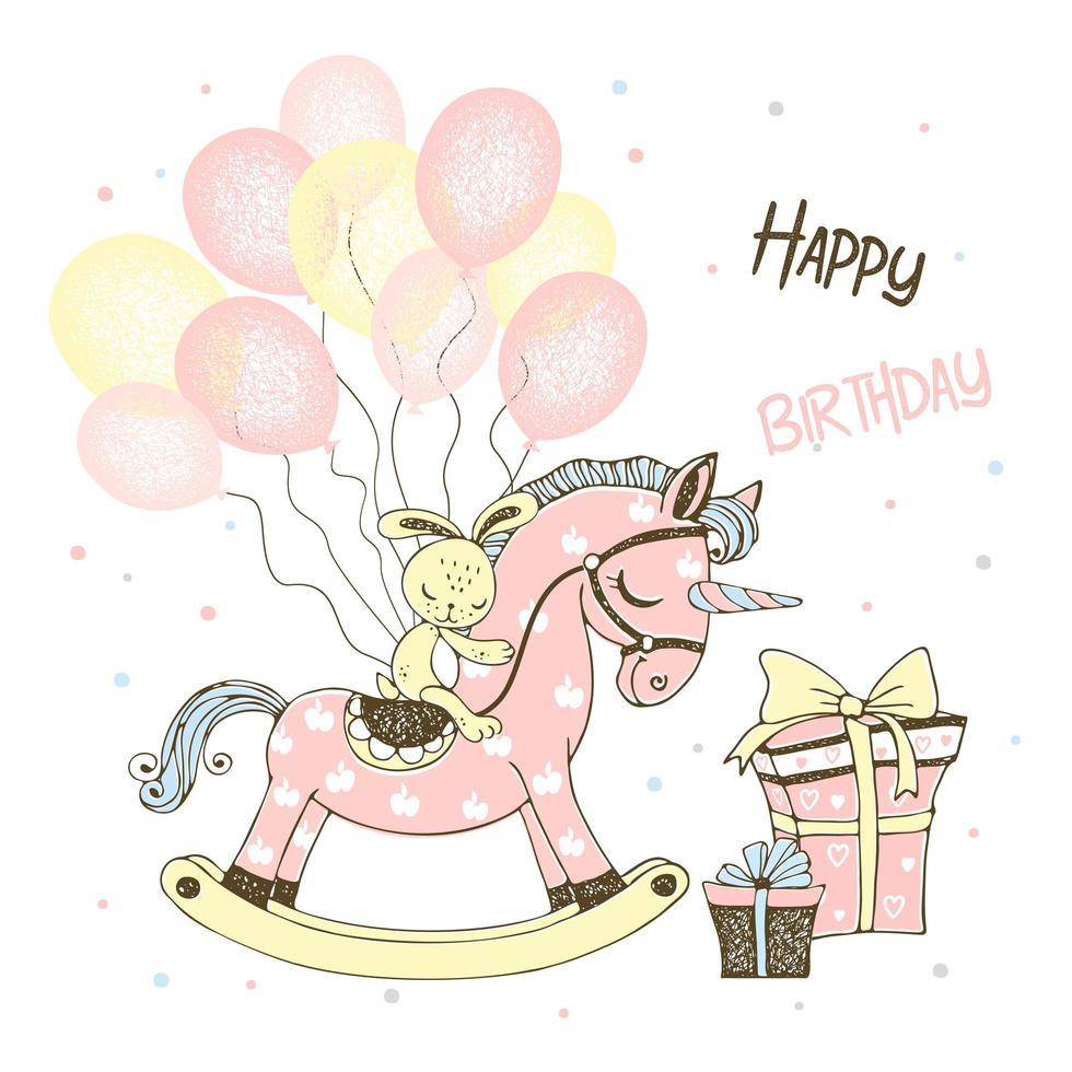 un caballo de juguete unicornio y globos y regalos. vector