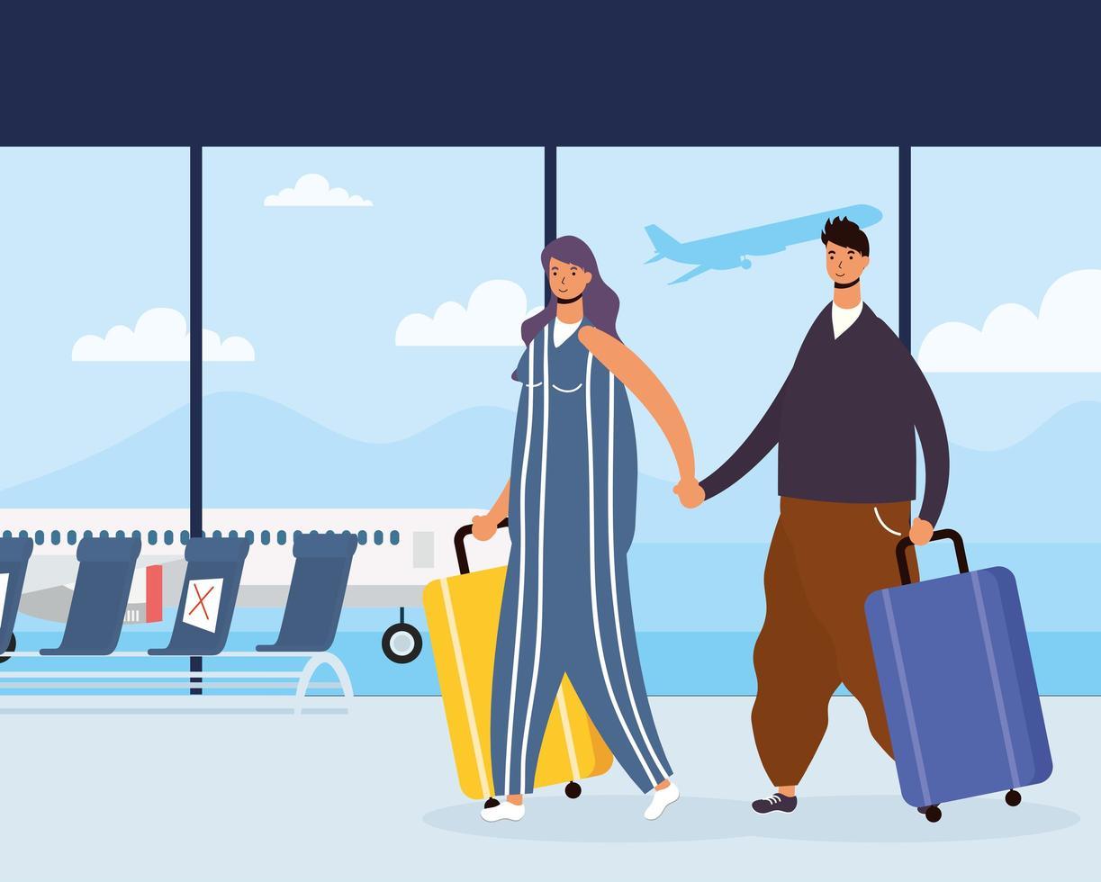 un par de viajeros con maletas en el aeropuerto vector