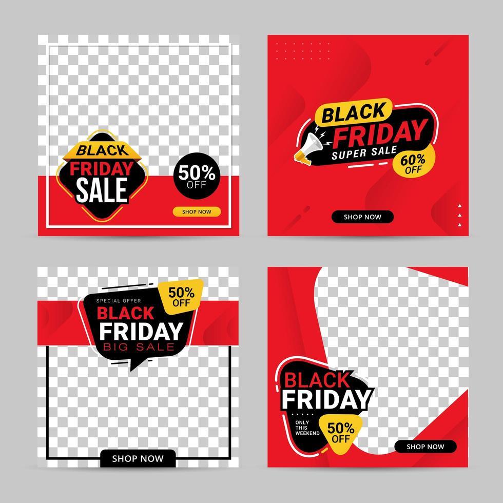 Black Friday sale banner social media post templates vector