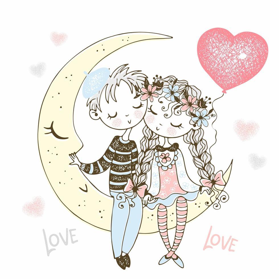 niño y niña enamorados sentados en la luna vector