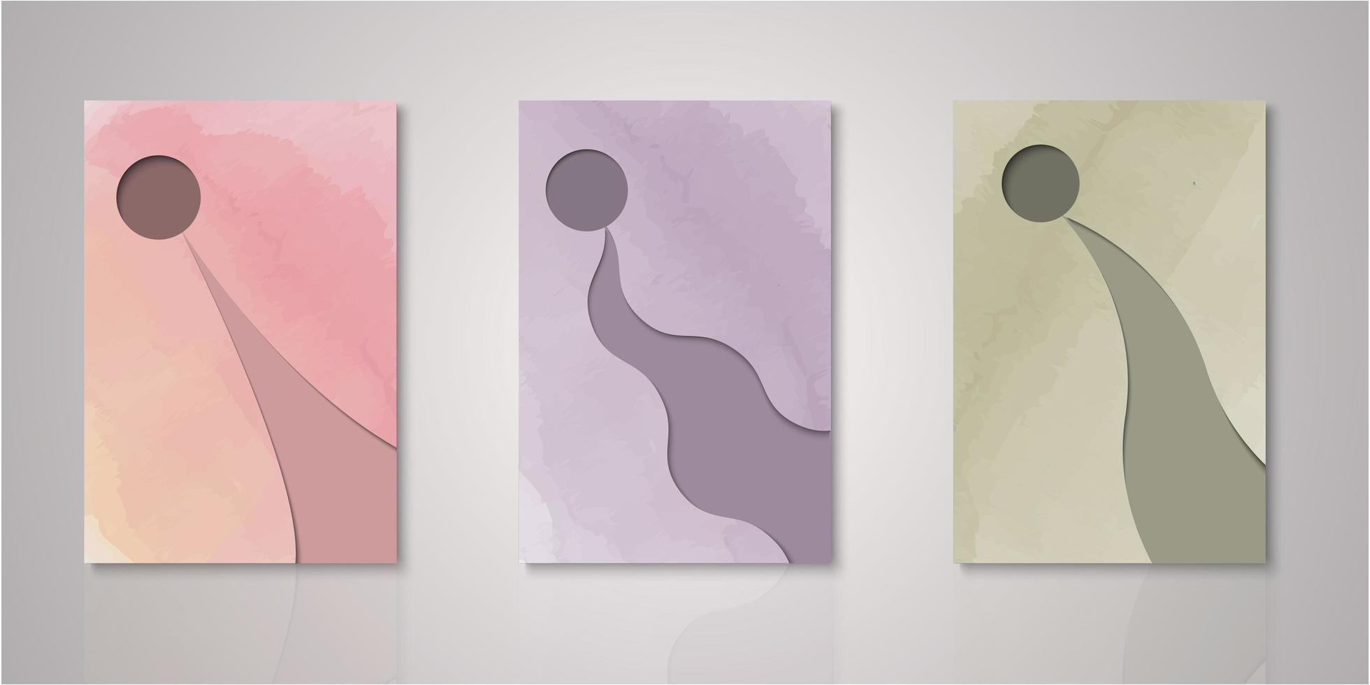 Set of circle frame abstract shape watercolor covers vector