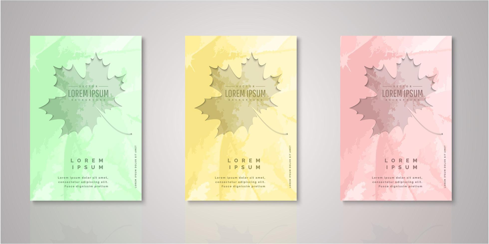 Set of autumn leaf watercolor cut out covers vector