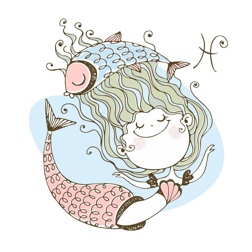 Children's zodiac. The zodiac sign Pisces. Mermaid vector