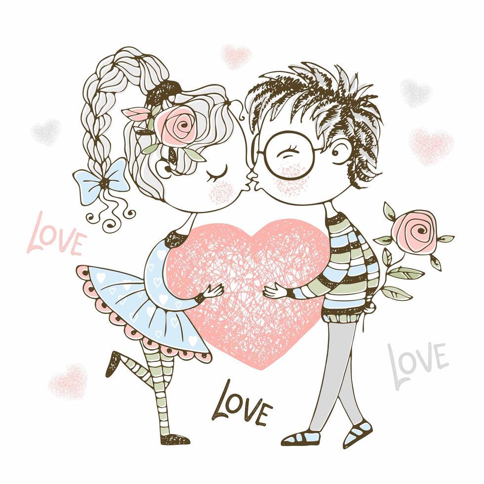 un niño y una niña besándose y sosteniendo el corazón. vector