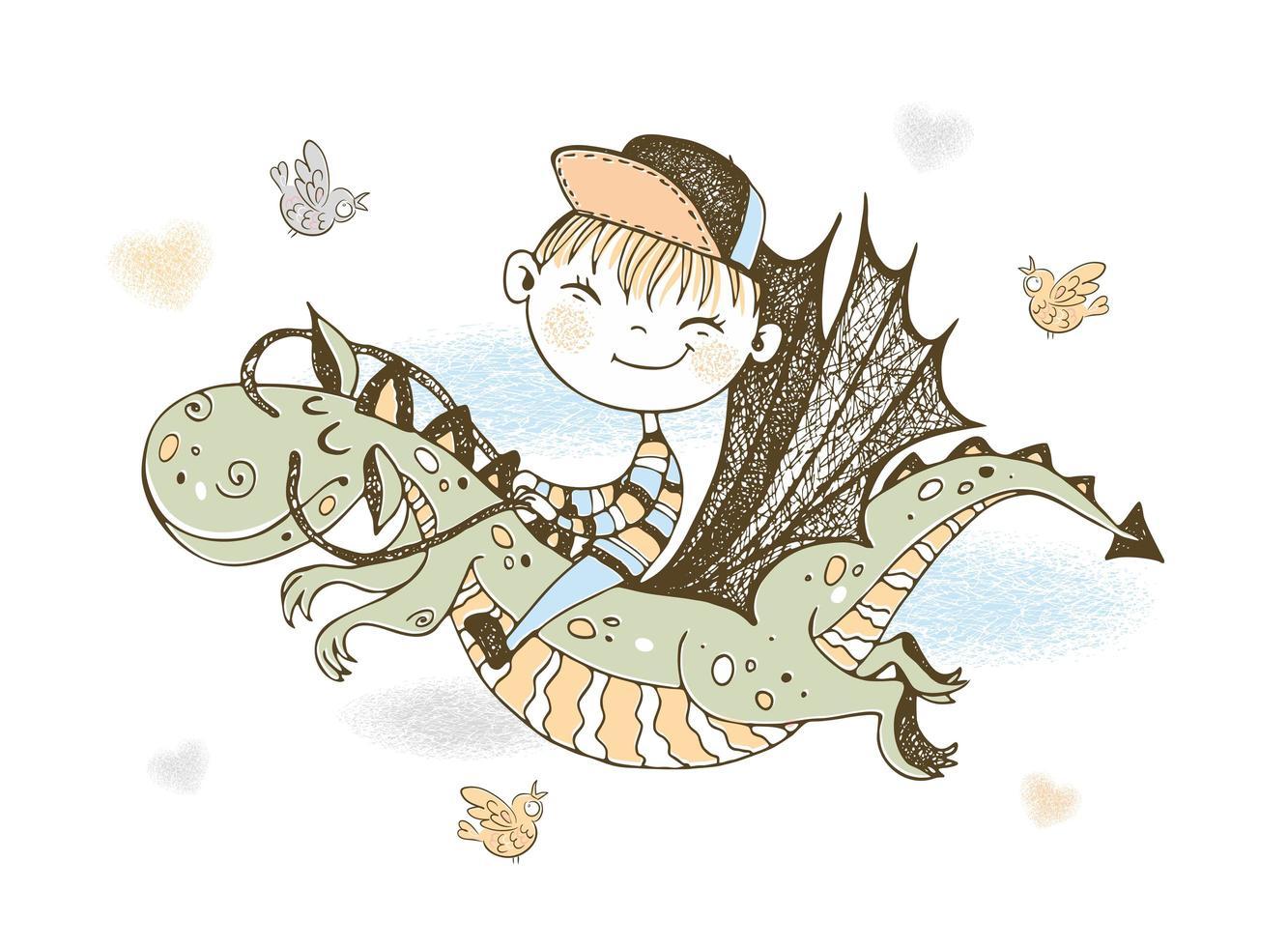niño volando sobre un dragón de cuento de hadas vector