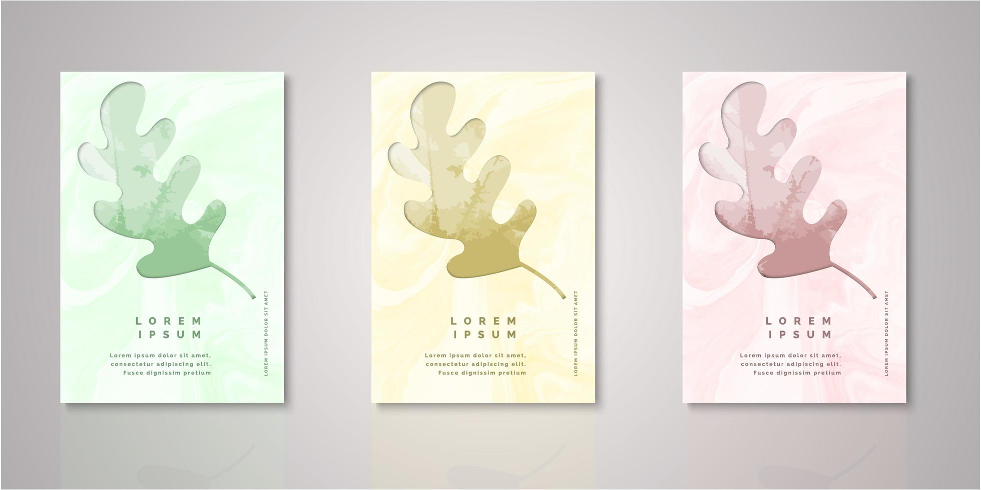 Set of leaf frame watercolor covers vector