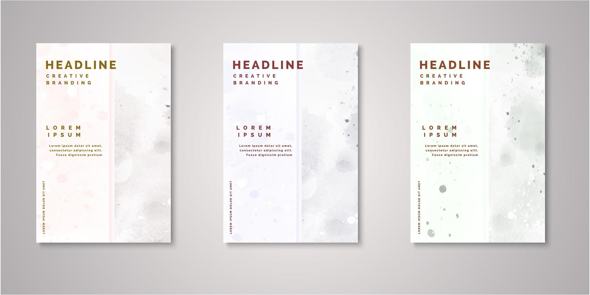 Set of watercolor covers vector