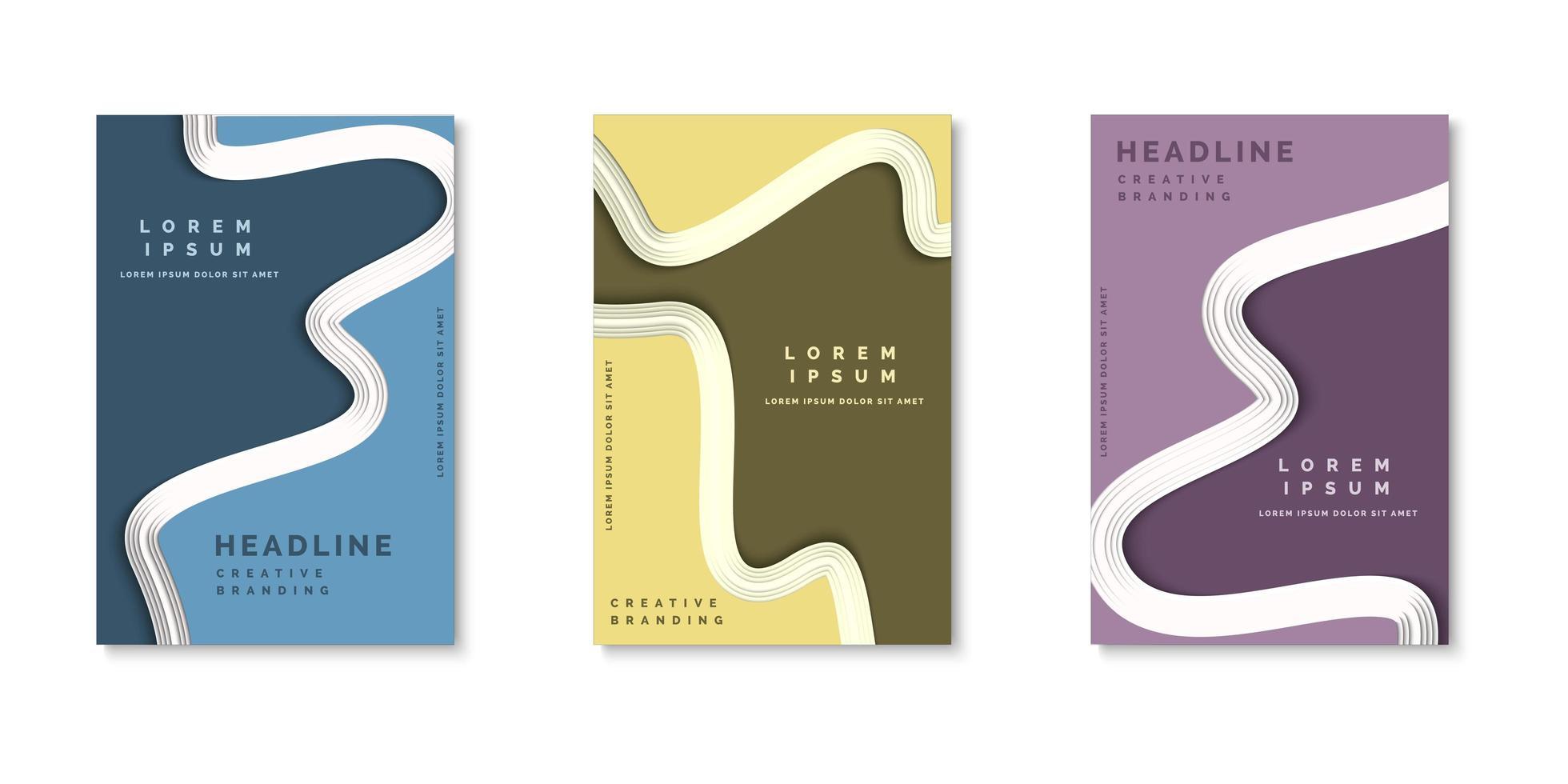 conjunto de cubiertas de capas de corte de papel de forma abstracta vector