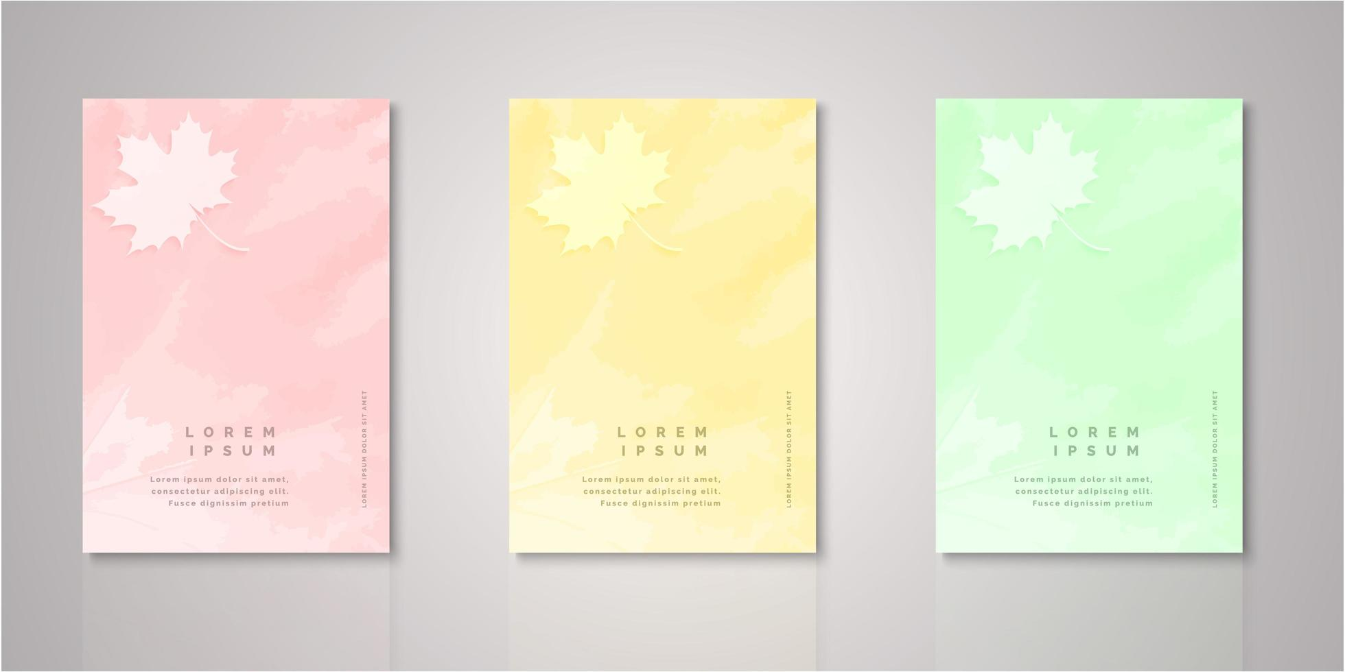 Set leaf watercolor covers vector