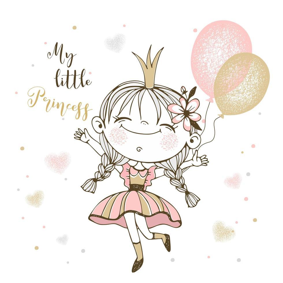 linda princesita con globos vector