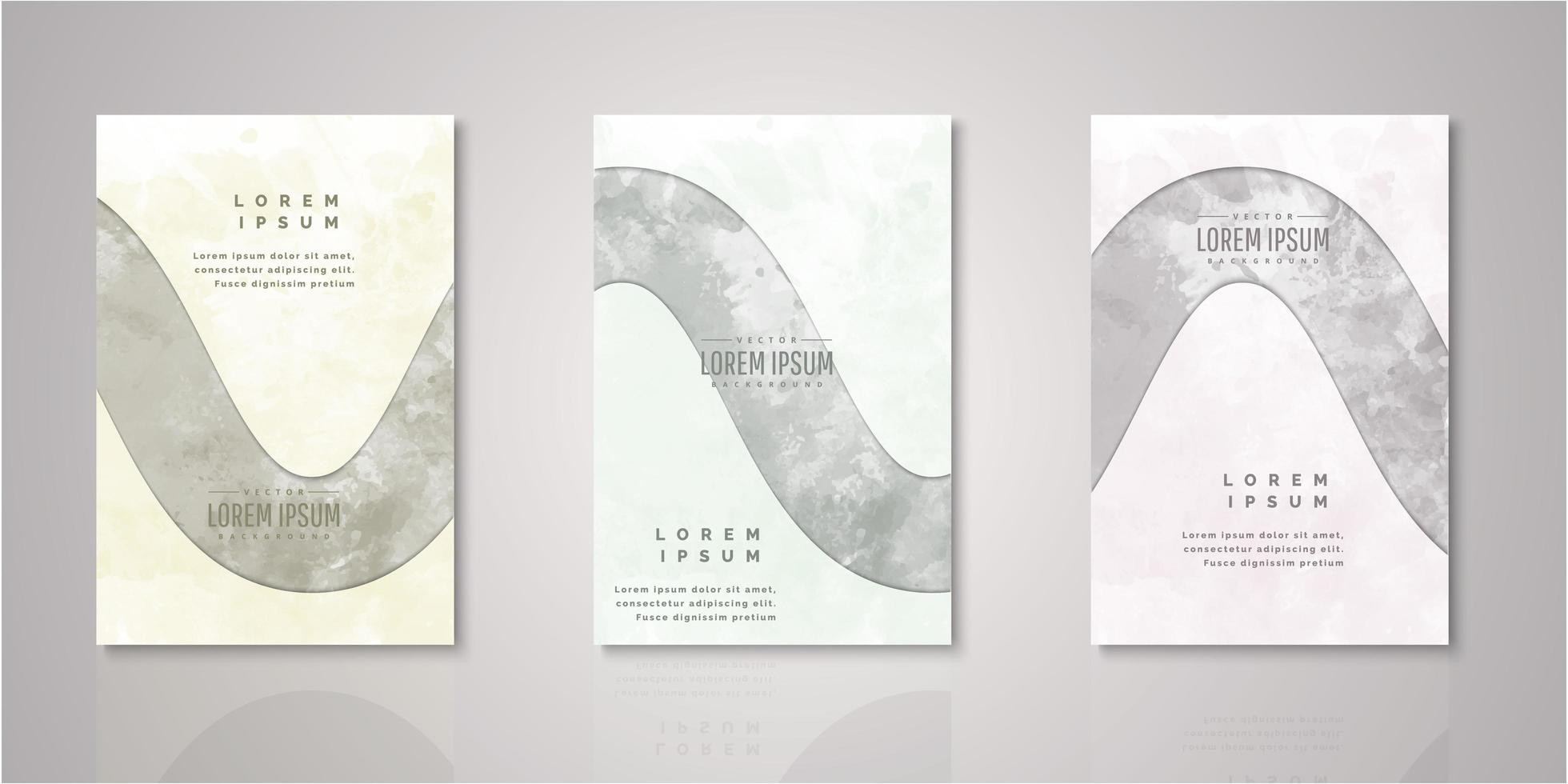 Set of rounded stripe cutout watercolor covers vector