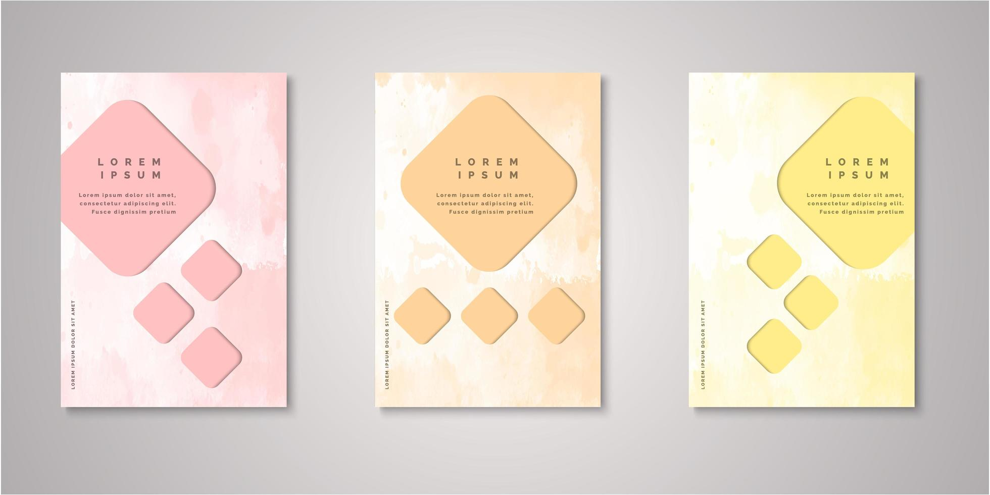 Set of watercolor diamond cut out covers vector