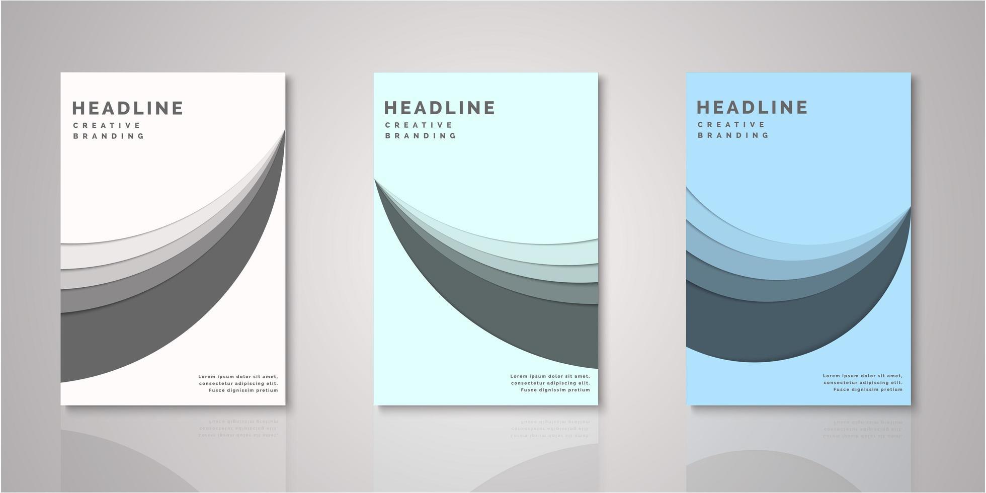 conjunto de cubiertas de capas de corte de papel de forma curva vector