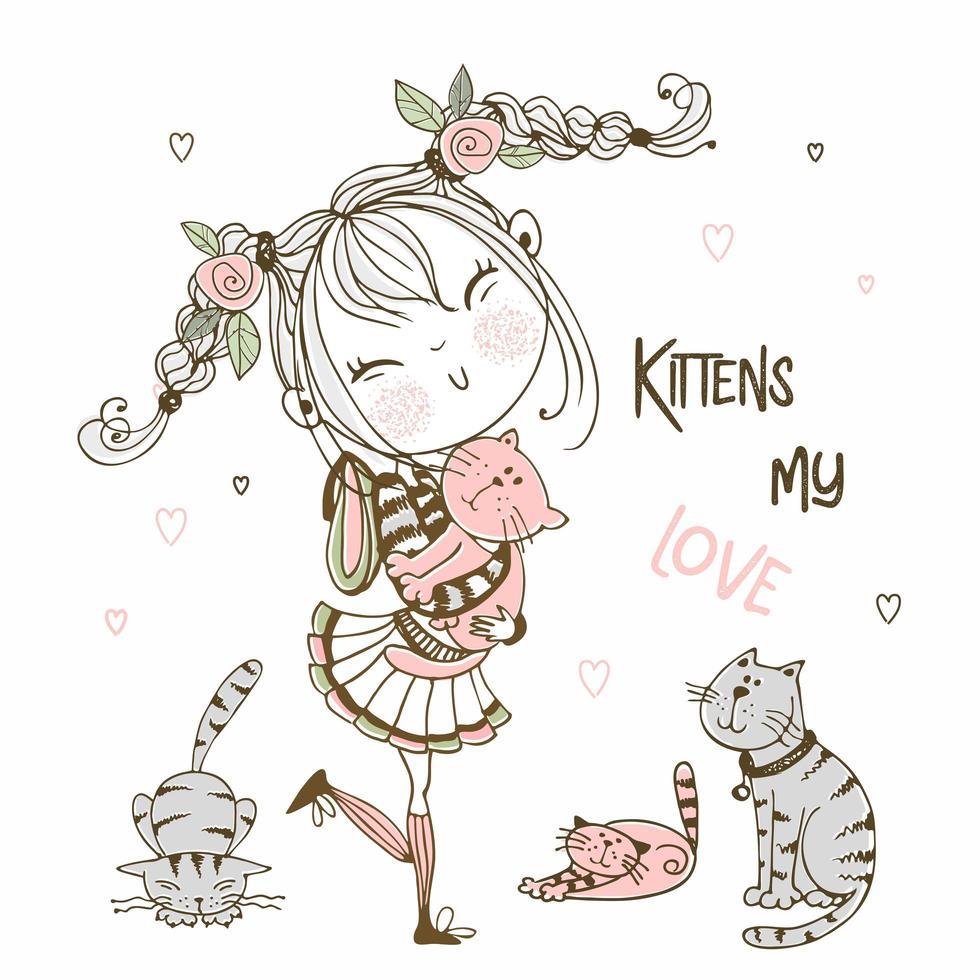 chica con gatos. gatitos mi amor vector