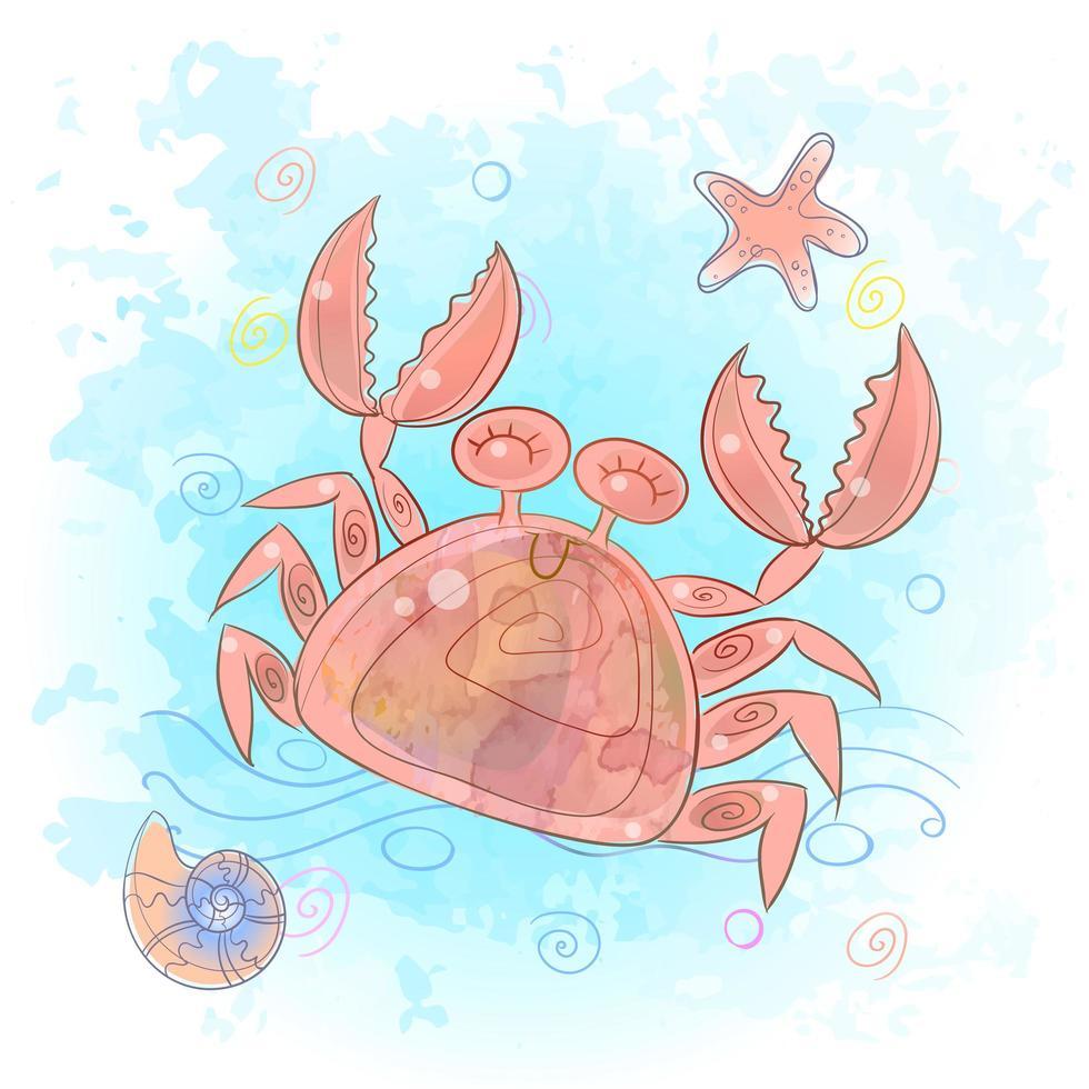 lindo cangrejo en el mar. vida marina vector
