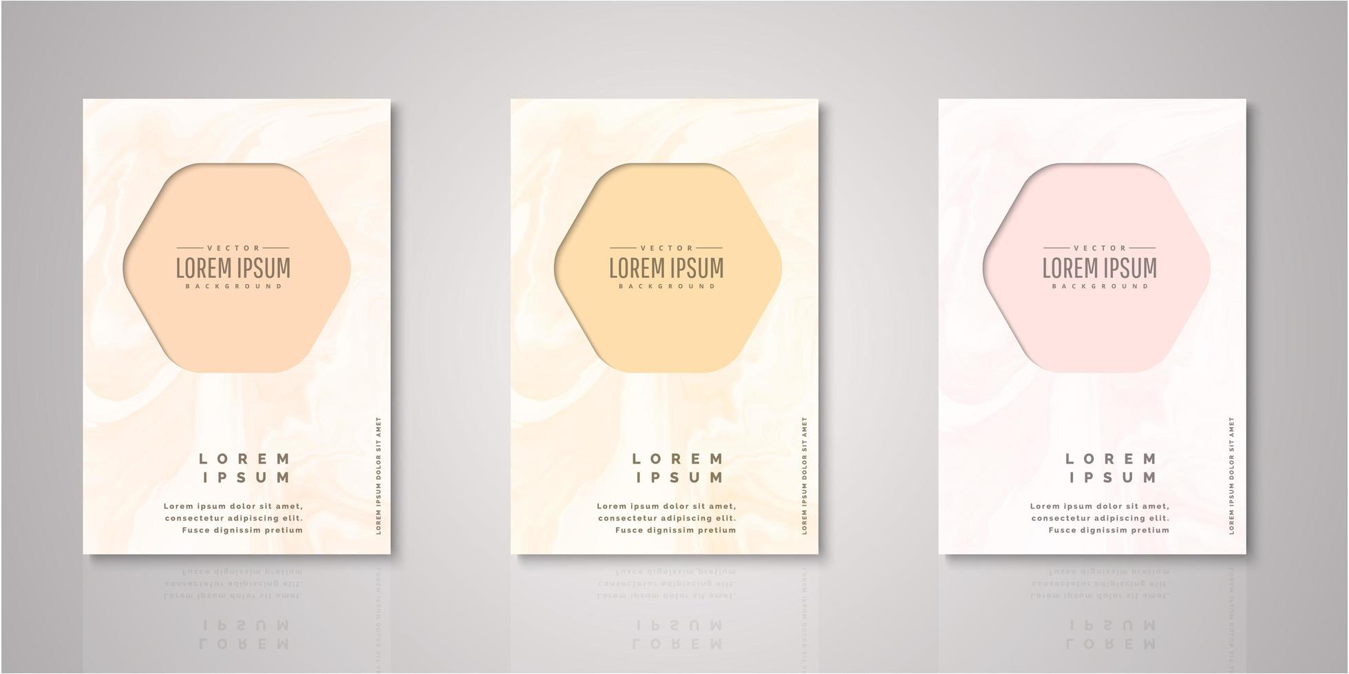 Set of hexagon frame watercolor covers vector
