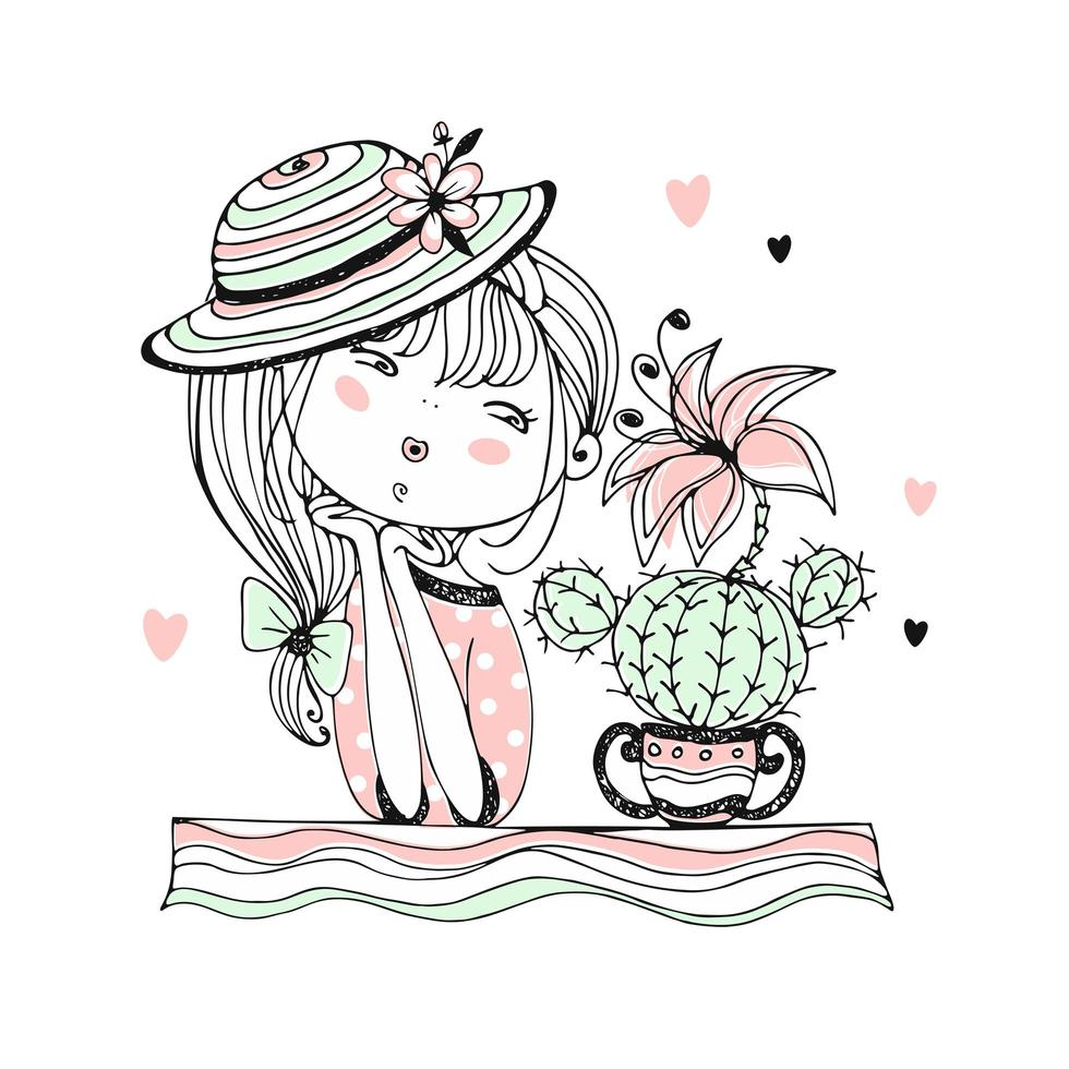 una linda chica admira un cactus en flor vector