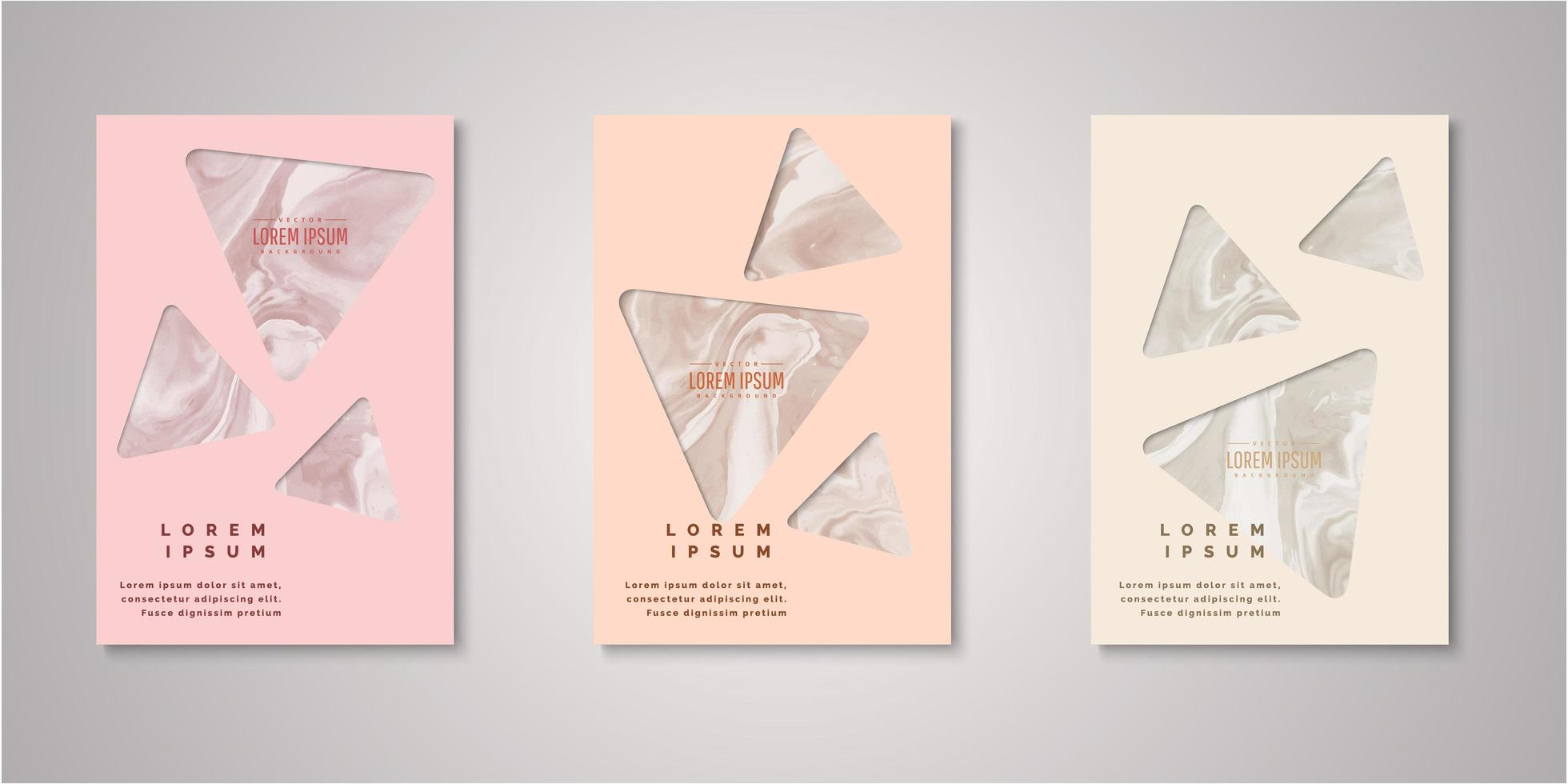 Set of triangle watercolor covers vector