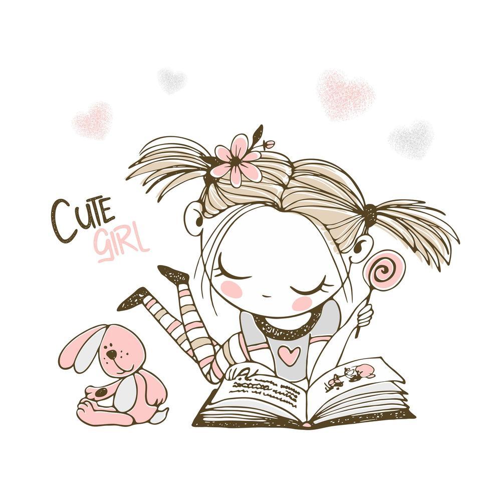 una linda niña está leyendo un libro vector
