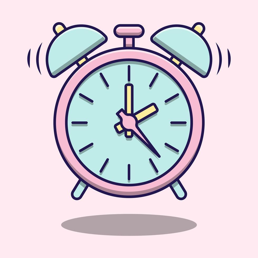 lindo reloj despertador rosa mínimo vector