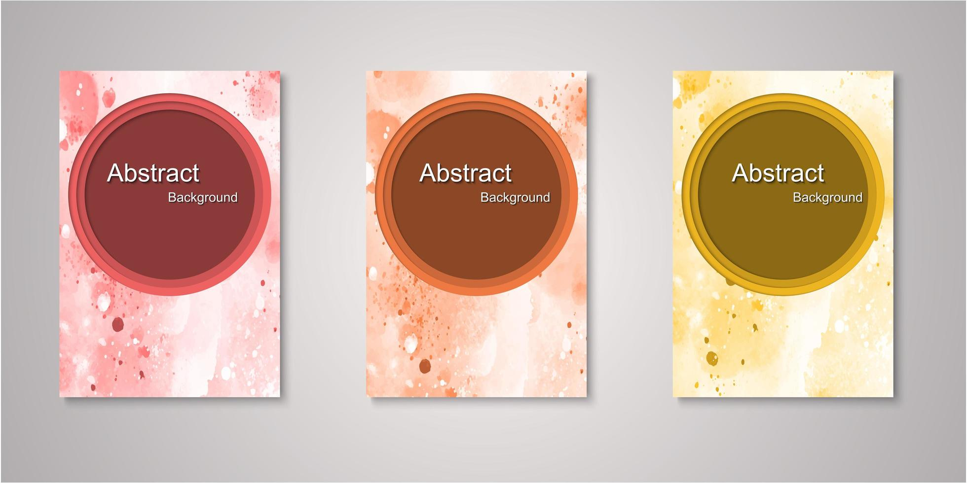 Set of circle frame watercolor covers vector