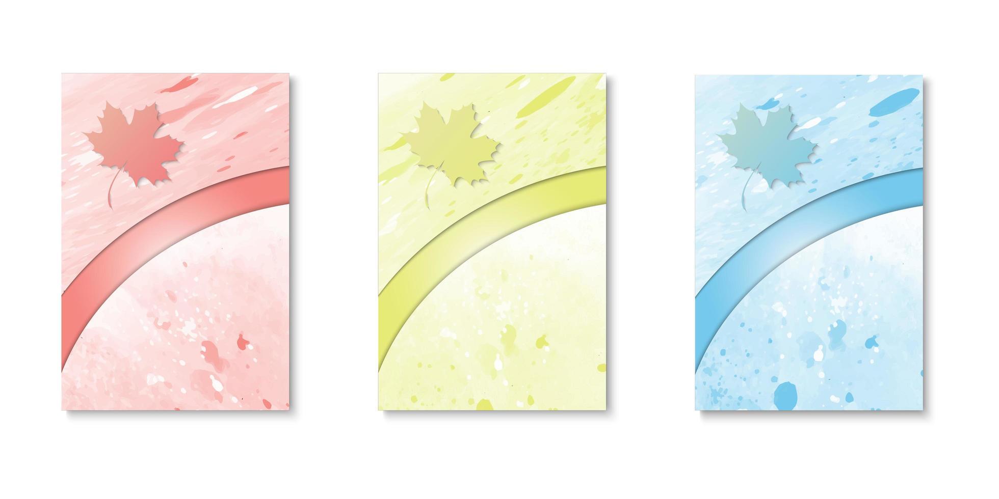 conjunto de cubiertas de acuarela de borde curvo de hoja cortada de papel vector