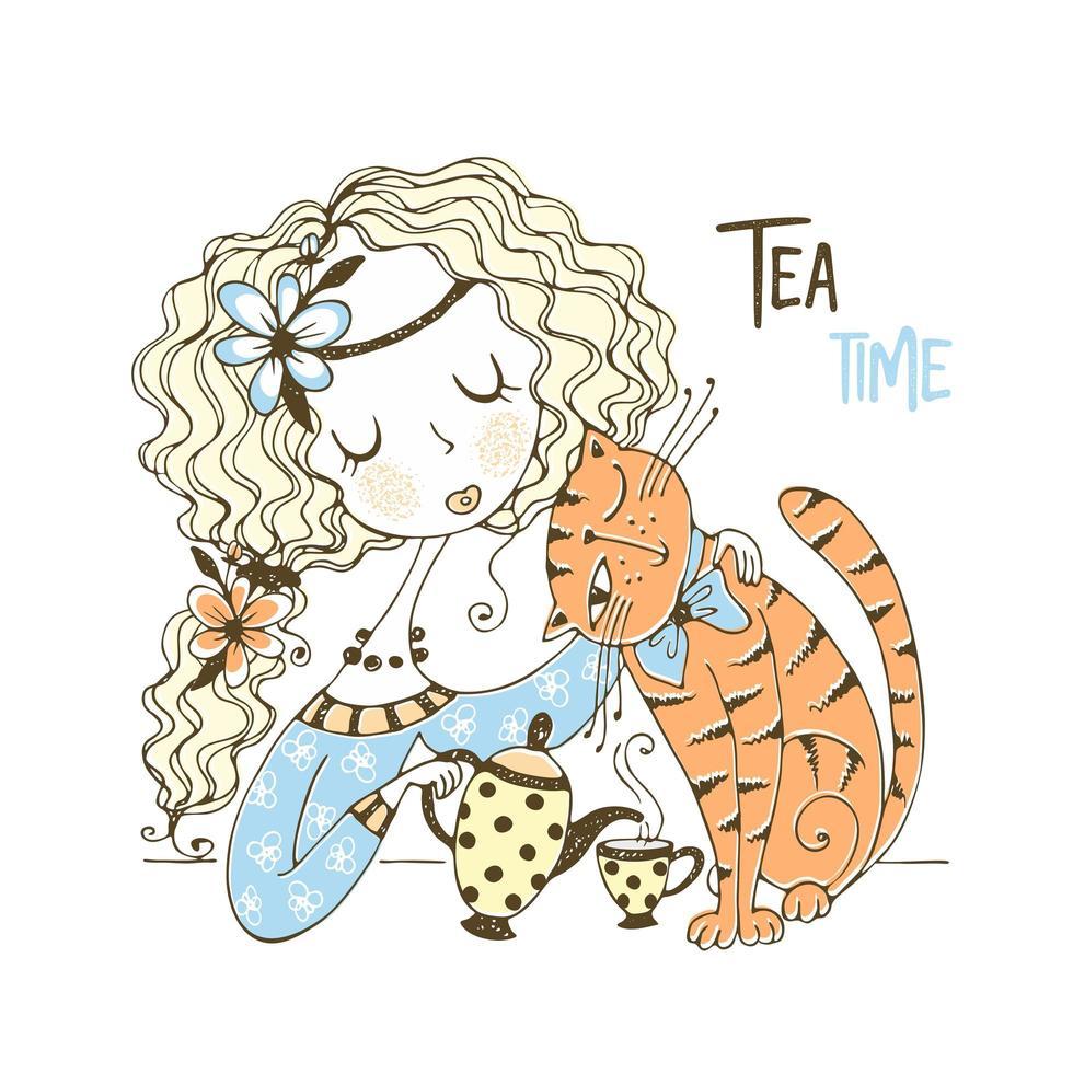 una niña está bebiendo té con su gato vector