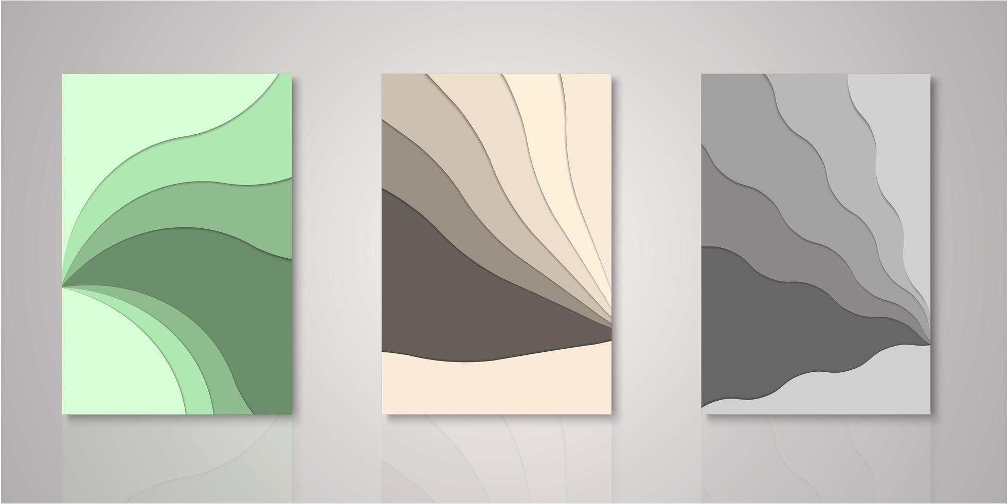 conjunto de cubiertas de capas de corte de papel abstracto vector
