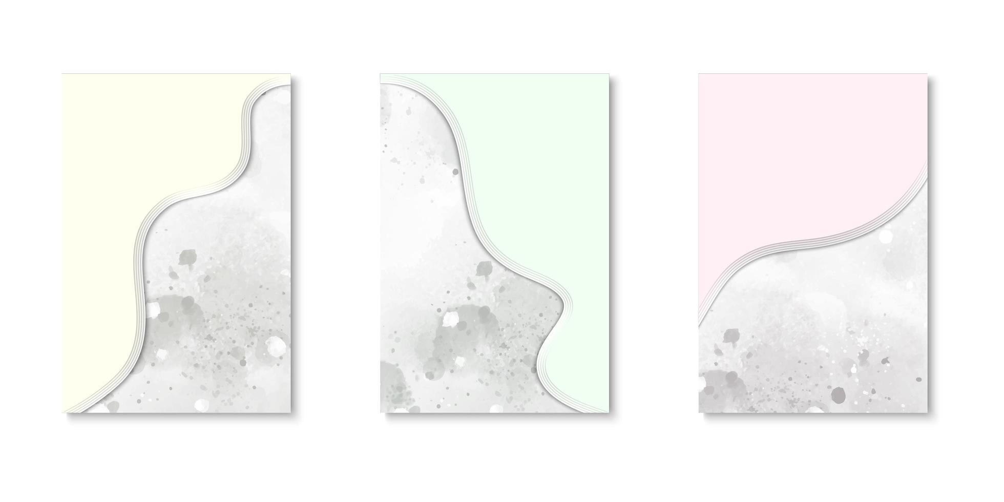 conjunto de cubiertas de acuarela de borde curvo vector