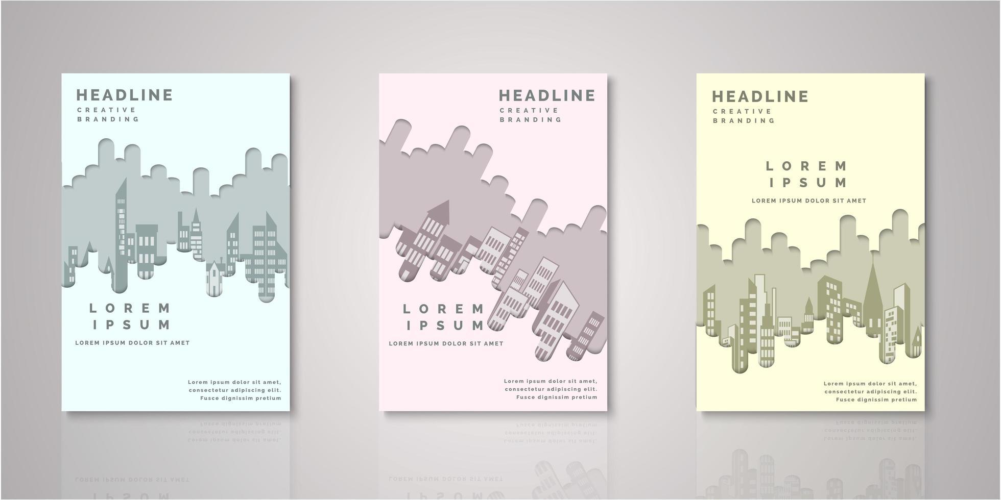 conjunto de cubiertas de horizonte de la ciudad de papel cortado vector