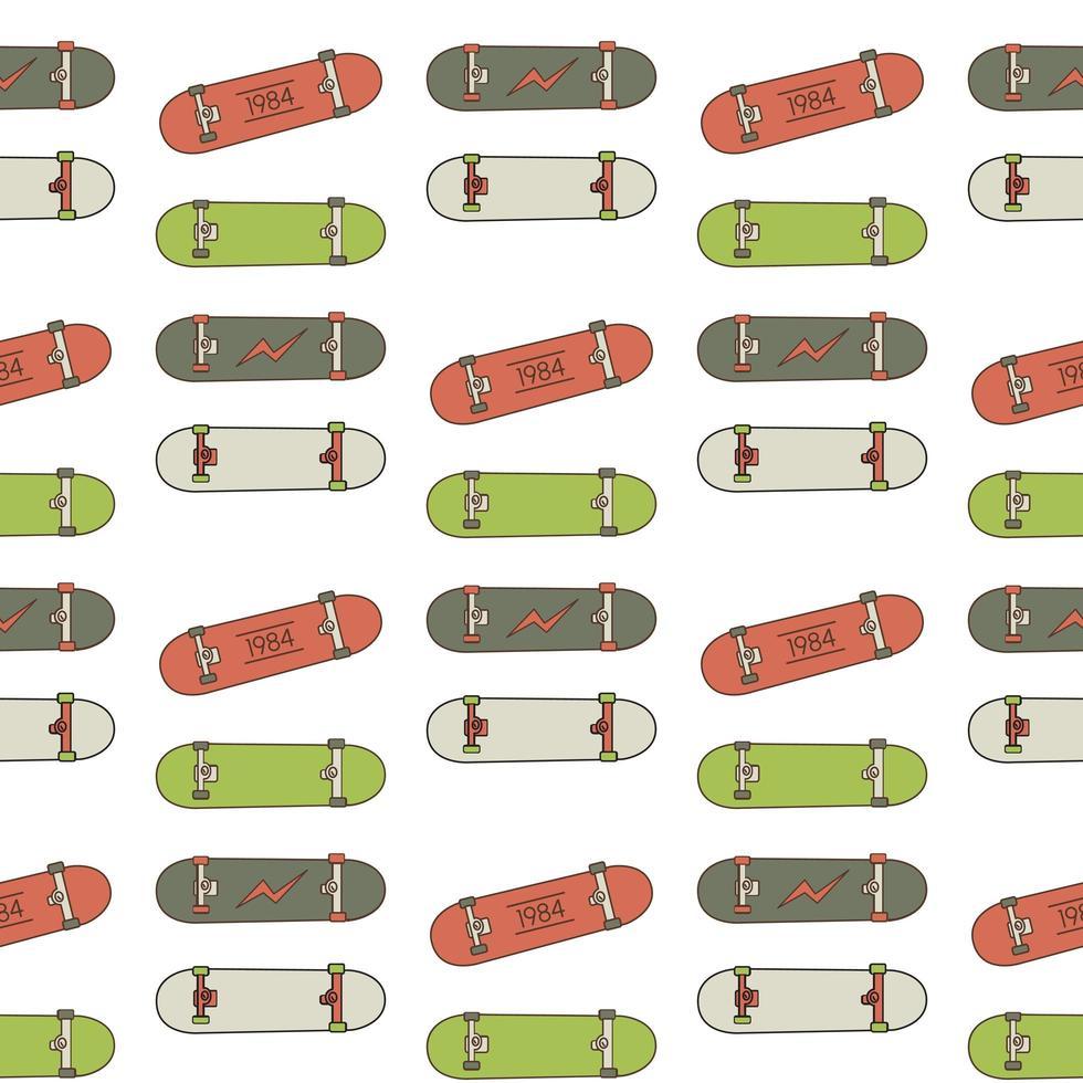 patrón sin costuras skatebord vector
