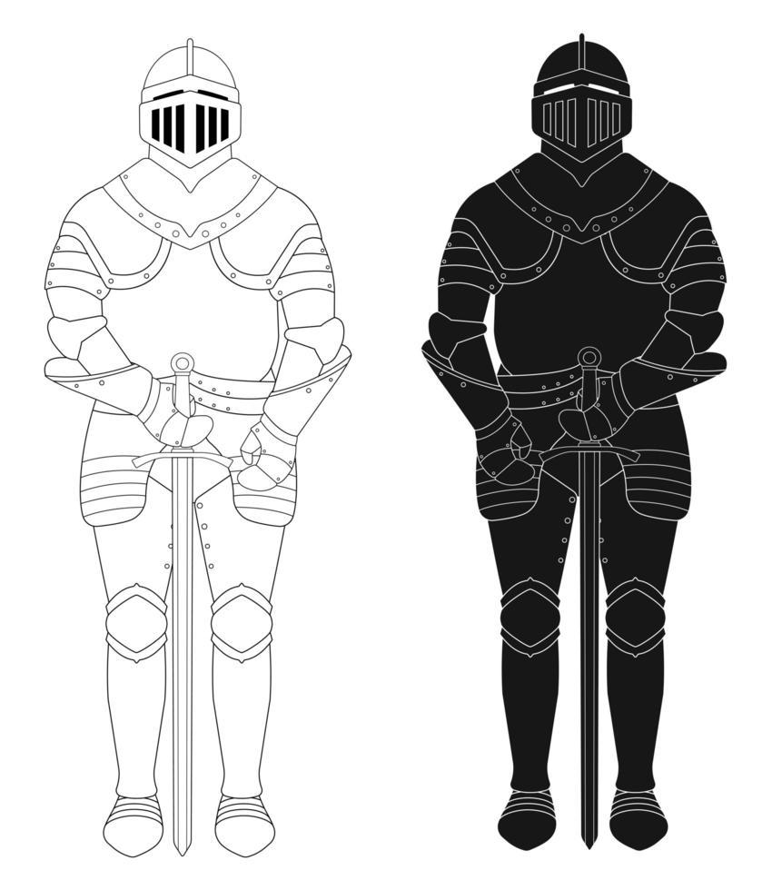 estatua de armadura medieval de caballero de pie. vector