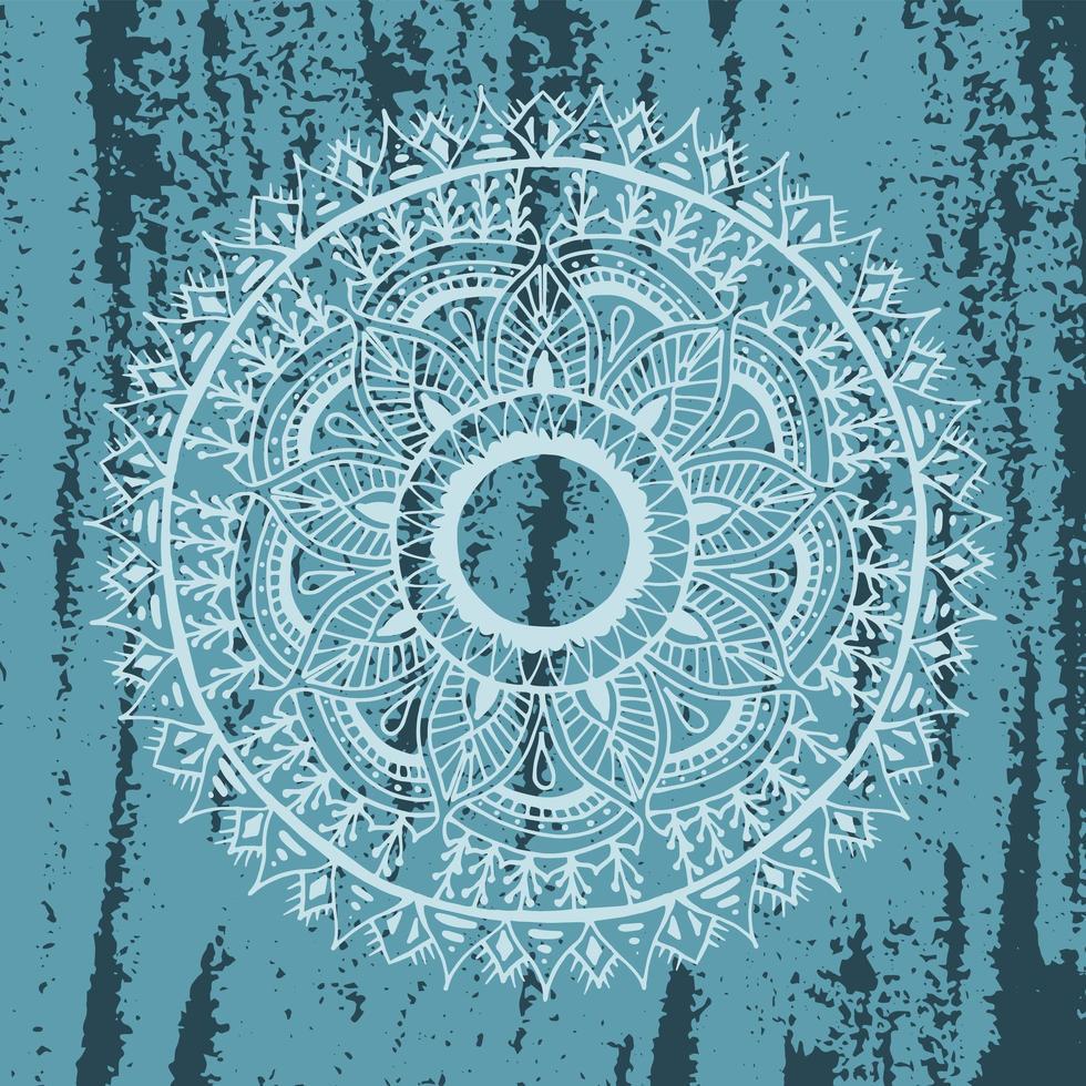 mandala de flores en textura grunge azul vector