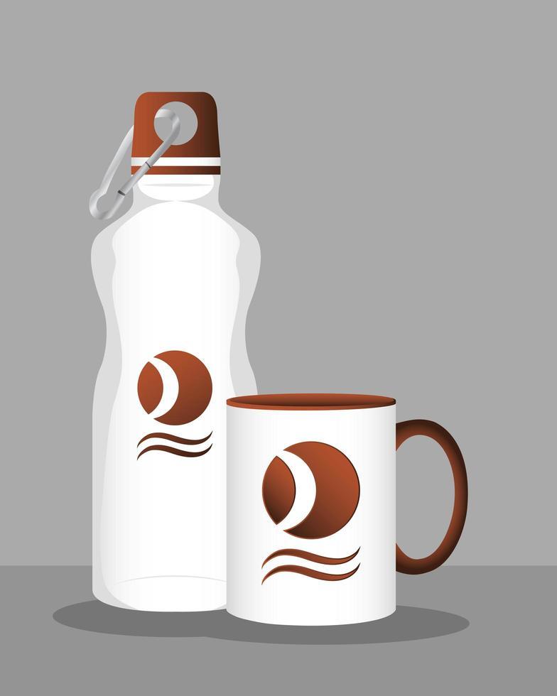 icono de maqueta de marca de botella y taza vector
