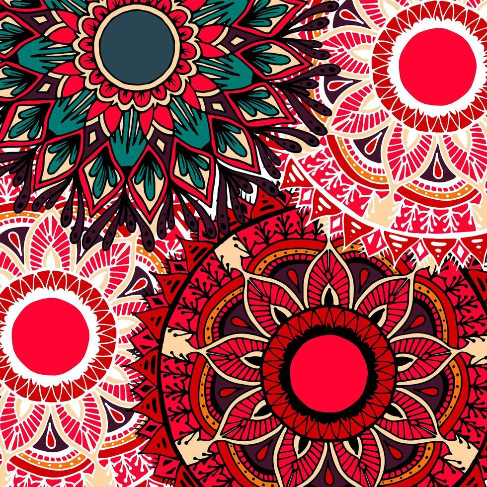 Fondo de mandala de flores de estilo boho colorido vector