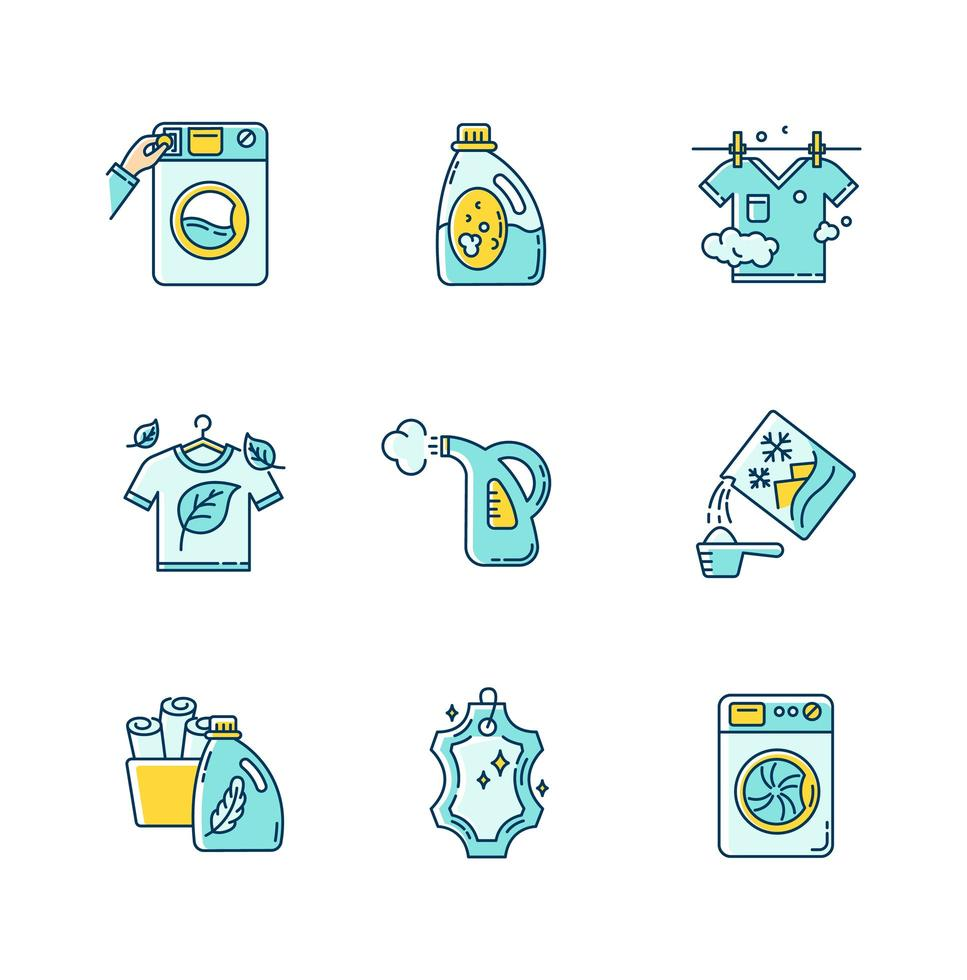Laundry types icons set. vector