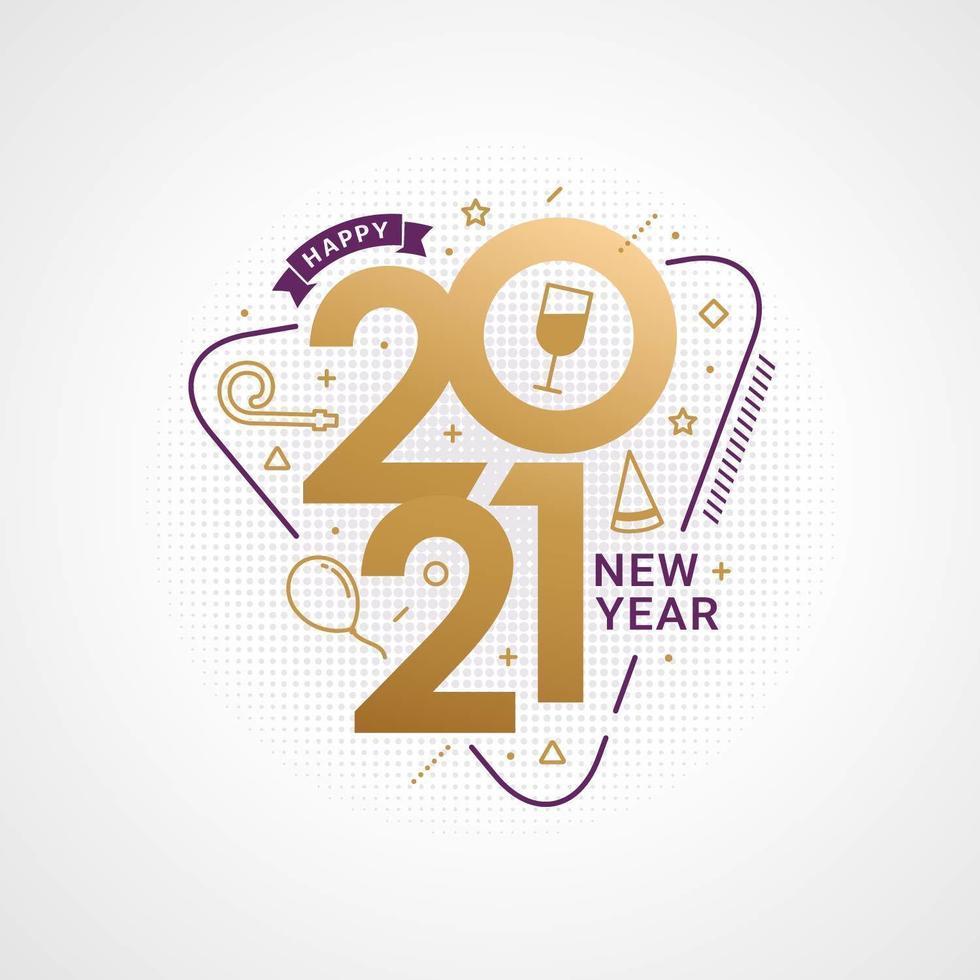 feliz año nuevo 2021 tipografía para tarjeta de felicitación vector
