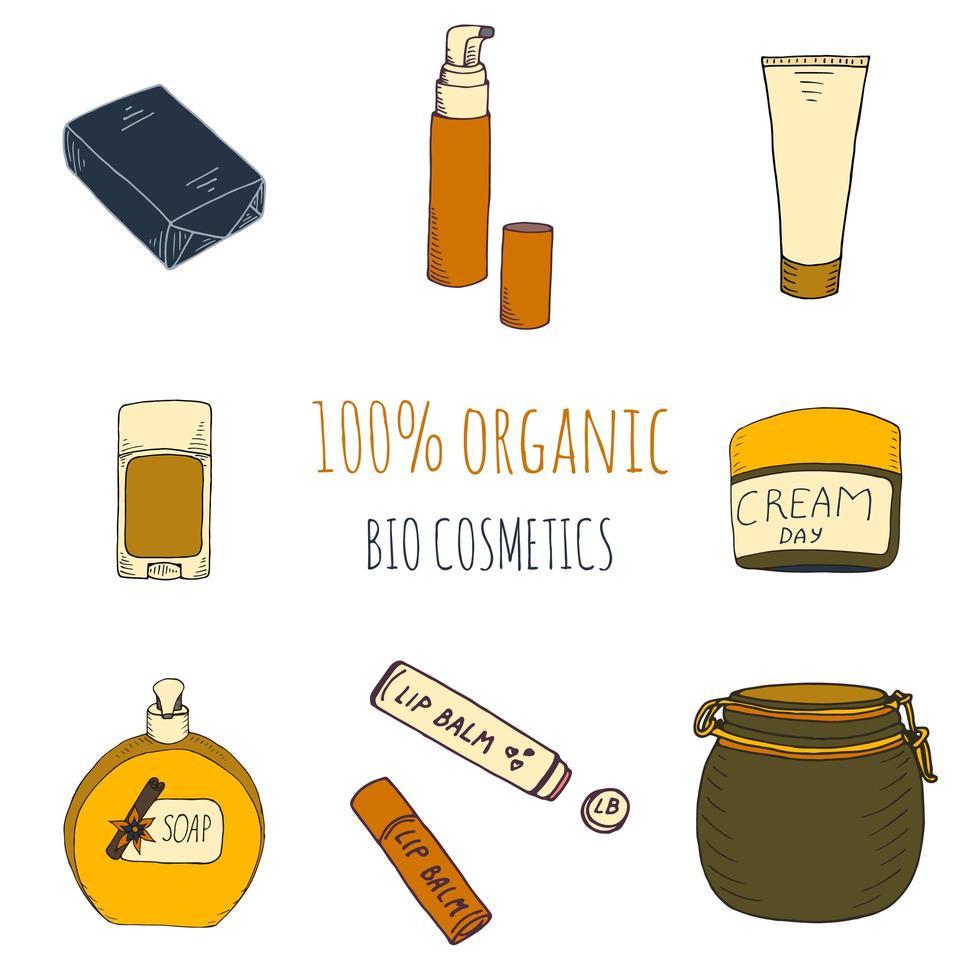 Organic cosmetics set in hand drawn style vector