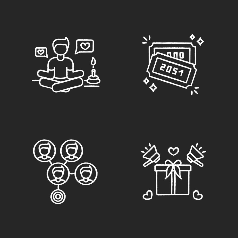 marketing en redes sociales conjunto de iconos de tiza blanca vector